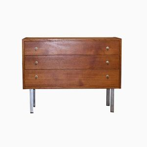Teak Chest of Drawers with Metal Feet and Handles, 1950s