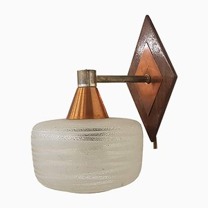 Danish Glass & Copper Wall Lamp, 1950s