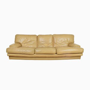 French Leather Three-Seater Sofa, 1970s