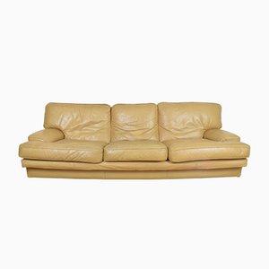 Sofá de tres plazas francés de cuero, años 70