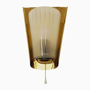 Brass and Glass Wall Lamp by Wilhelm Wagenfeld for Peill & Putzler, 1950s