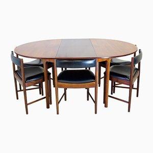 Tavolo da pranzo Mid-Century in palissandro e 6 sedie di McIntosh
