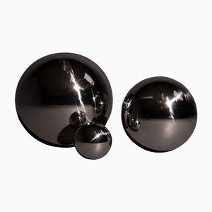Bolas de espejo vintage de acero inoxidable, años 80. Juego de 3