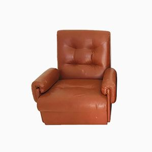 Vintage Italian Brown Leather Armchair, 1970s