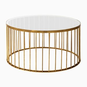 Table Basse Cage Ronde par Niccolo De Ruvo pour Brass Brothers