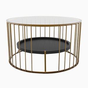 Tavolino da caffè Cage rotondo di Niccolò de Ruvo per Brass Brothers