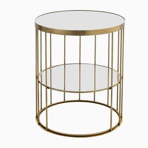 Runder hoher Cage Couchtisch von Niccolo De Ruvo für Brass Brothers