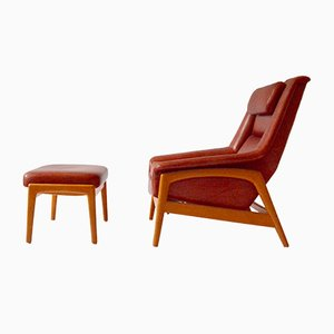 Red Leather Armchair & Ottoman by Folke Ohlsson for Dux, 1960s, Set of 2