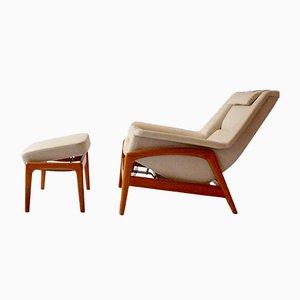 Poltrona reclinabile con poggiapiedi di Folke Ohlsson per Dux, anni '60, set di 2