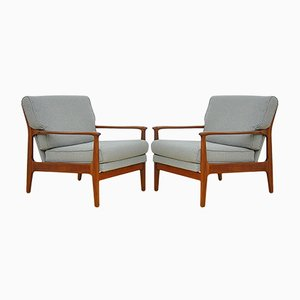 Scandinavian Reclining Armchairs, 1960s, Set of 2