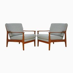 Scandinavian Reclining Armchairs, 1960s, Set of 2