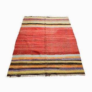 Alfombra Kilim turca vintage de lana a rayas minimalistas, años 70