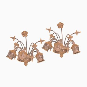 Mid-Century Wall Lights with Gold Leaf from Barovier & Toso, Set of 2