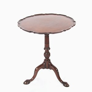 Antique English Mahogany Scalloped Edge Occasional Table