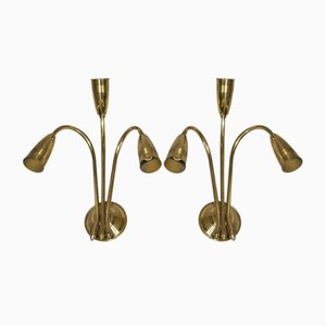 Vintage Brass Wall Lamps, Set of 2