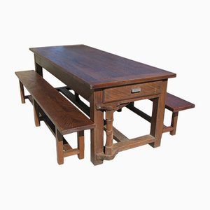 Oak Table with Bench System, 1960s