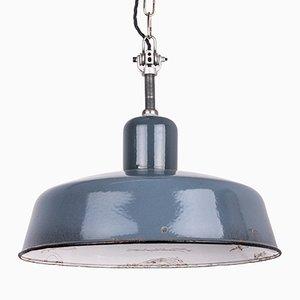 Lámpara colgante industrial en gris azulado de Siemens, años 30