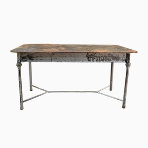 French Metal Garden Dining Table, 1930s