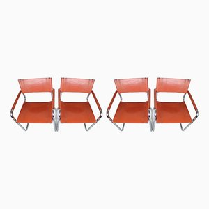 MG5 Cognac Leather Chairs by Marcel Breuer for Matteo Grassi, 1970s, Set of 4