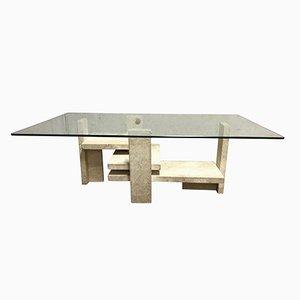 Table Basse Vintage en Travertine par Willy Ballez, 1970s