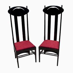 Argyle Stühle mit hoher Rückenlehne von Charles Rennie Mackintosh für Cassina, 1973er, 2er Set