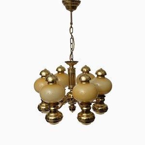 Art Deco Style Brass Chandelier, 1960s
