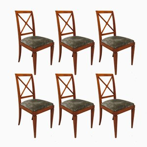 Velvet Dining Chairs, 1930s, Set of 6