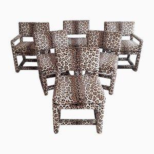 Chaises de Salle à Manger Imprimées Léopard par Milo Baughman pour Thayer Coggin, 1975, Set de 6