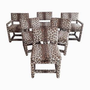 Leopard Print Dining Chairs by Milo Baughman for Thayer Coggin, 1975, Set of 6