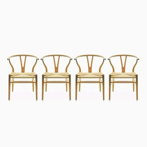CH24 Wishbone Chairs by Hans J. Wegner for Carl Hansen & Søn, 1960s, Set of 4