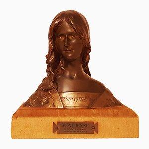 Busto Art Nouveau in bronzo di Leon Delagrange