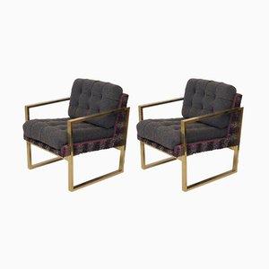Italienische Mid-Century Sessel aus Messing & Stoff, 1950er, 2er Set