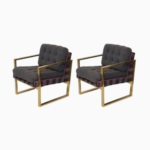 Mid-Century Italian Brass & Fabric Lounge Chairs, 1950s, Set of 2