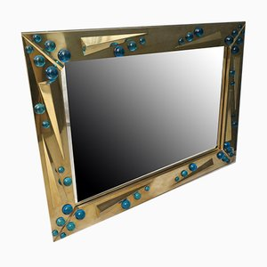 Mid-Century Italian Murano Art Glass & Brass Mirror, 1970s