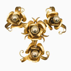 Florentine Gilt Candle Flush Mount from Hans Kögl, 1960s