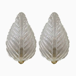 Mid-Century Rugiodoso Leaf Sconces from Barovier and Toso, Set of 2