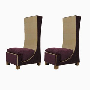 Mid-Century Italian Goat Skin, Brass & Purple Chenille Lounge Chairs, 1950s, Set of 2