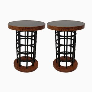 Mid-Century Italian Round Side Tables, 1930s, Set of 2