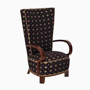 Mid-Century Italian Velvet & Beech Lounge Chair, 1940s