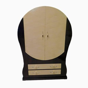 Italian Art Deco Macassar Wood & Goat Skin Round Cabinet, 1940s