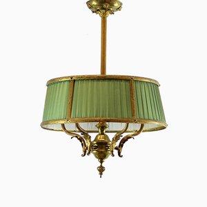 Antike spanische Deckenlampe mit Seidenschirmen