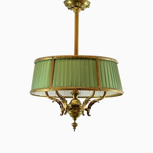 Antique Spanish Ceiling Lamp with Silk Shades