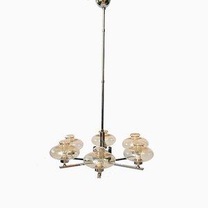 Lámpara de araña vintage de cromo y vidrio, años 60
