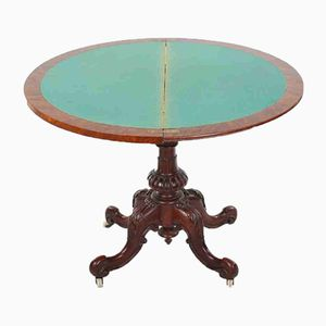 Victorian Burr Walnut Demi-Lune Card Table, 1860