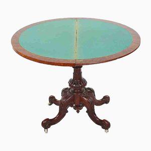 Viktorianischer Demilune Spieltisch aus Wurzel- & Nussholz, 1860