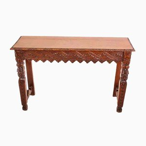 Carved Oak Console Table, 1920s