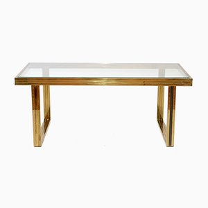 Italian Brass Coffee Table by Romeo Rega, 1970s