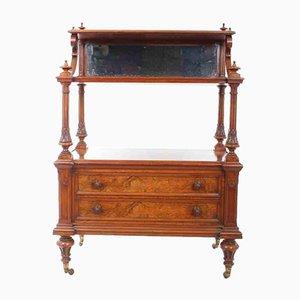 Bufet antiguo de madera nudosa de nogal, década de 1860