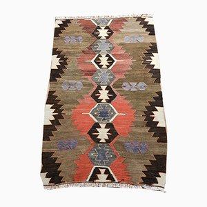 Alfombra Kilim turca bohemia vintage de lana multicolor, años 70