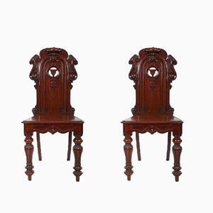 Antique Mahogany Hall Chairs, 1840s, Set of 2